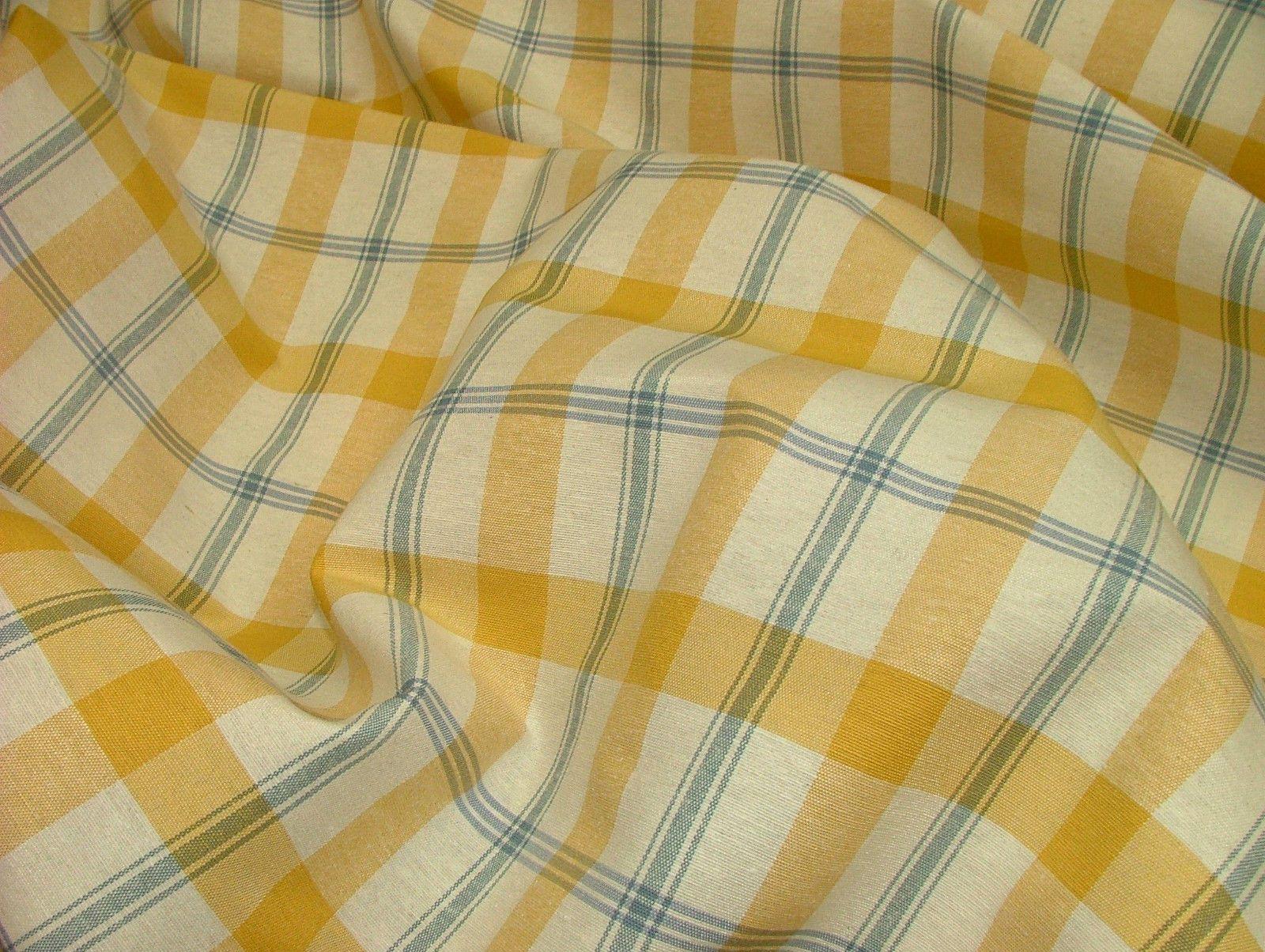 Prestigious Textiles Mustard Cream Blue Check Curtain